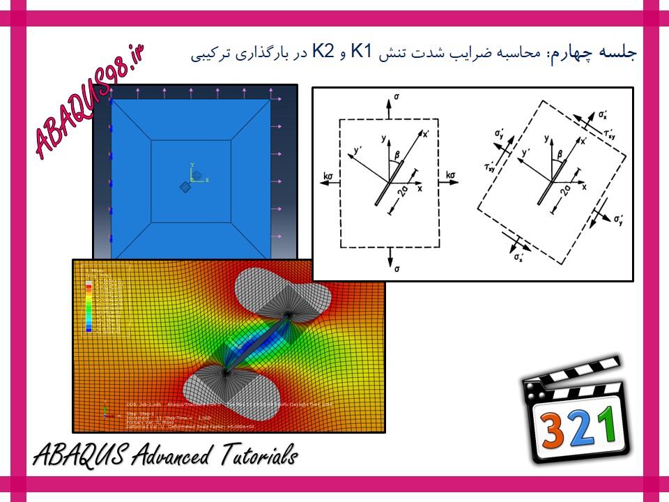 آموزش پیشرفته abaqus - محاسبه ضریب شدت تنش K1 و K2 در بارگذاری ترکیبی (Mixed Mode)
