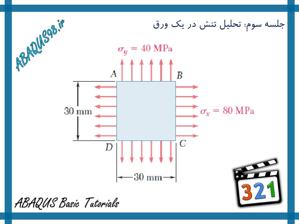 آموزش مقدماتی abaqus - تحلیل تنش در ورق با شرایط تنش صفحه ای
